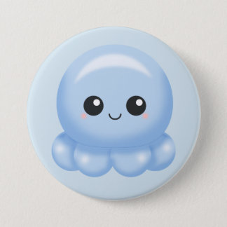 Kawaii Cartoon Blue Octopus 3 Inch Round Button