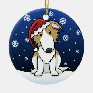 Kawaii Cartoon Borzoi Christmas Ornament