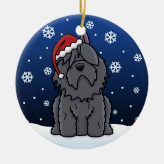 Kawaii Cartoon Bouvier des Flandres Christmas Ceramic Ornament