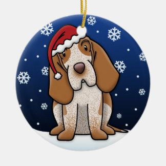Kawaii Cartoon Bracco Italiano Christmas Ceramic Ornament