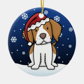 Kawaii Cartoon Brittany Spaniel Christmas Ornament