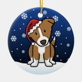Kawaii Cartoon Brown Border Collie Christmas Ceramic Ornament