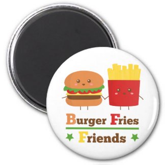Kawaii Cartoon Burger Fries Friends BFF 2 Inch Round Magnet