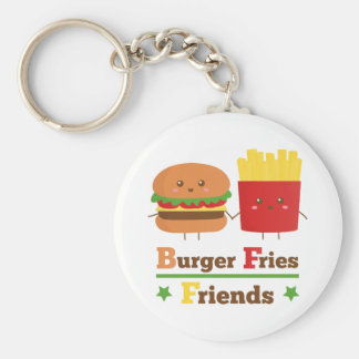 Kawaii Cartoon Burger Fries Friends BFF Keychain