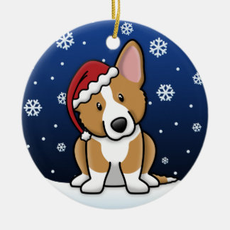 Kawaii Cartoon Cardigan Welsh Corgi Christmas Round Ceramic Ornament