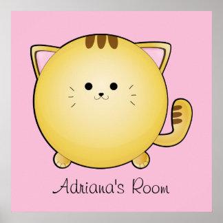 Kawaii Cartoon Cat Room Poster