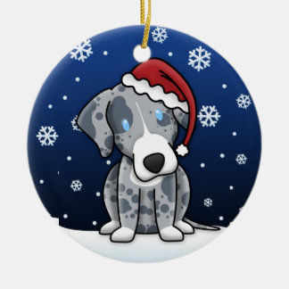 Kawaii Cartoon Catahoula Leopard Dog Christmas Ceramic Ornament