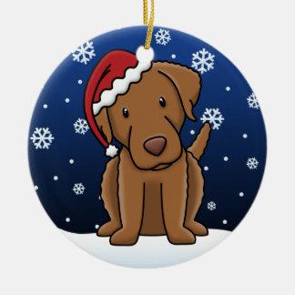 Kawaii Cartoon Chesapeake Bay Retriever Christmas Ceramic Ornament