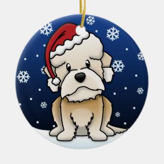 Kawaii Cartoon Dandie DInmont Terrier Christmas Ceramic Ornament
