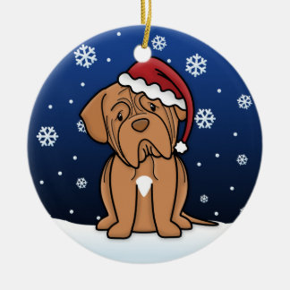 Kawaii Cartoon Dogue de Bordeaux Christmas Ceramic Ornament