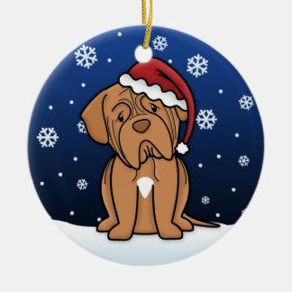Kawaii Cartoon Dogue de Bordeaux Christmas Round Ceramic Ornament