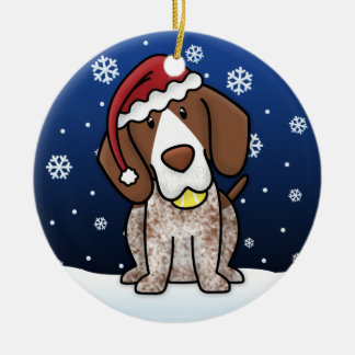 Kawaii Cartoon German Shorthair Pointer Christmas Ceramic Ornament