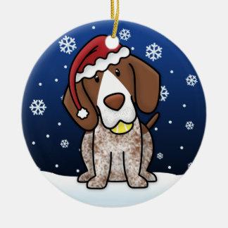 Kawaii Cartoon German Shorthair Pointer Christmas Round Ceramic Ornament