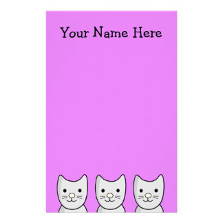 Kawaii Cartoon Grey Kitty Cats Stationery