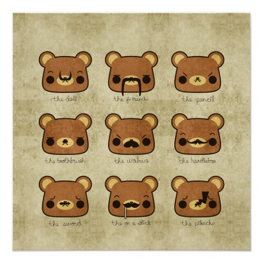 Kawaii Cartoon Grunge Bears with Moustaches Poster