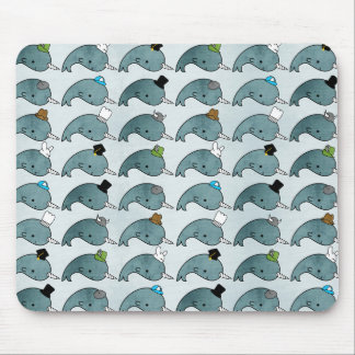 Kawaii Cartoon Grunge Narwhals with hats Mousepad
