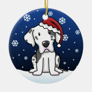 Kawaii Cartoon Harlequin Great Dane Christmas Ceramic Ornament