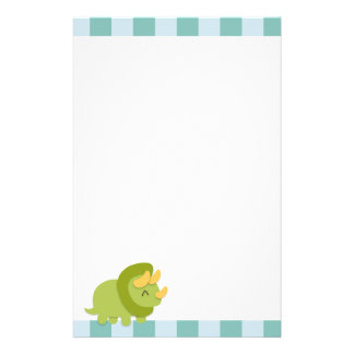 Kawaii cartoon of green and yellow Triceratops Customized Stationery