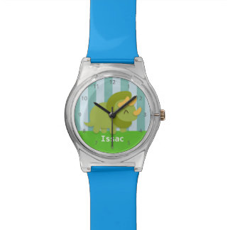 Kawaii cartoon of green and yellow Triceratops Watch