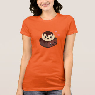 Kawaii Cartoon of Vanilla Ice Cream and Brownie T-Shirt