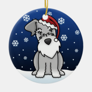 Kawaii Cartoon Schnauzer Christmas Ornament