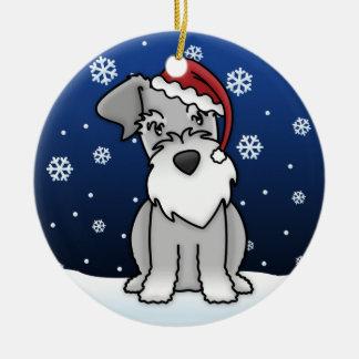 Kawaii Cartoon Schnauzer Christmas Ornament