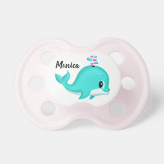 Kawaii Cartoon Teal Whale Pink Hearts Pacifier