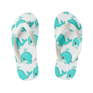 Kawaii Cartoon Teal Whale with water drips Kid's Flip Flops