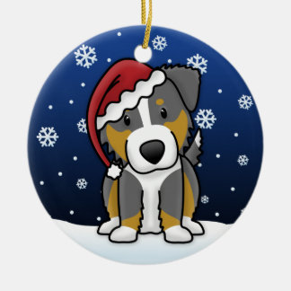 Kawaii Cartoon Tri Australian Shepherd Christmas Ceramic Ornament