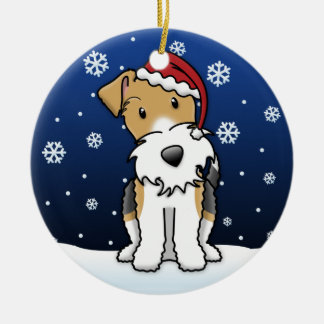 Kawaii Cartoon Wire Fox Terrier Christmas Ornament