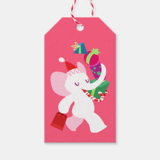 Kawaii Cartoon X-mas White Elephant Pack Of Gift Tags