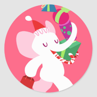 Kawaii Cartoon X-mas White Elephant Round Sticker