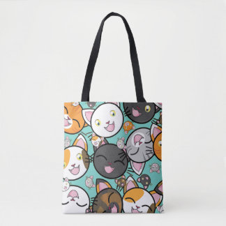 Kawaii Cat Faces All Over Print Tote