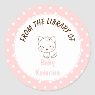 Kawaii Cat Girly pink polka dots Bookplate Classic Round Sticker
