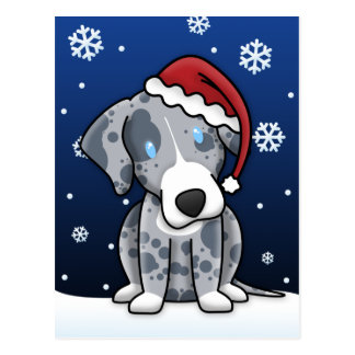 Kawaii Catahoula Christmas Postcard