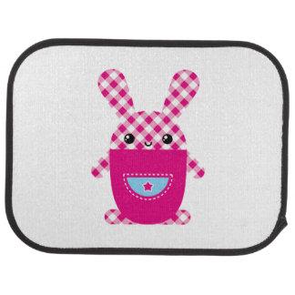Kawaii checkered rabbit auto mat