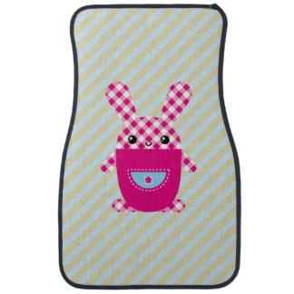 Kawaii checkered rabbit car floor carpet