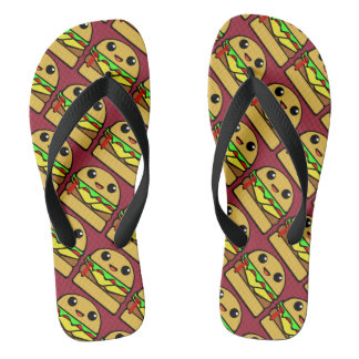 Kawaii Cheeseburger Flip Flops