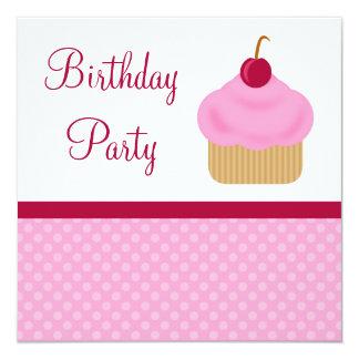 Kawaii Cherry Cupcake Birthday Party Invitations
