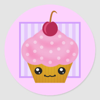 Kawaii Cherry Cupcake Classic Round Sticker