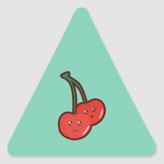 Kawaii cherry triangle sticker