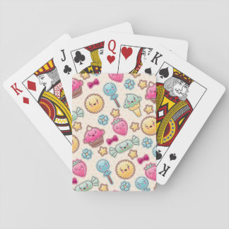 Kawaii child pattern with cute doodles playing cards