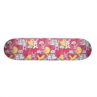 Kawaii Child Pattern with Cute Doodles Skate Board