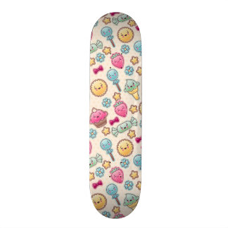 Kawaii child pattern with cute doodles skateboard decks