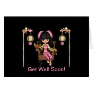 Kawaii China Doll Get Well Soon Card