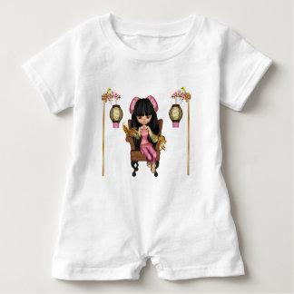 Kawaii China Doll Scene Baby Romper