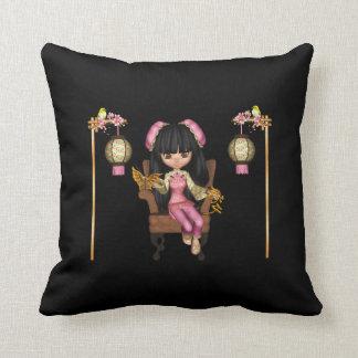 Kawaii China Doll Scene Throw Pillow