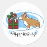 Kawaii Christmas Corgi Puppy Gift Round Sticker