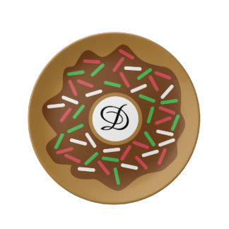 Kawaii Christmas Donut Red Green Sprinkles Iced Plate