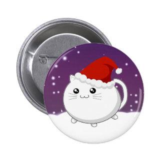 Kawaii christmas kitty cat 2 inch round button
